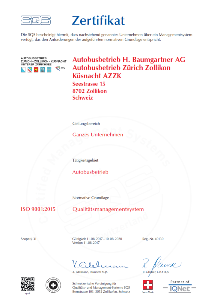SQS Zertifikat 9001